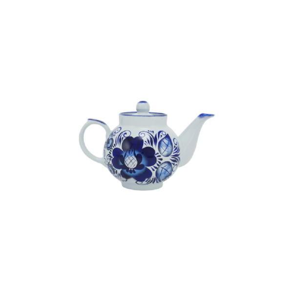 Подарочный набор «Гжель»: самовар, заварочный чайник, поднос