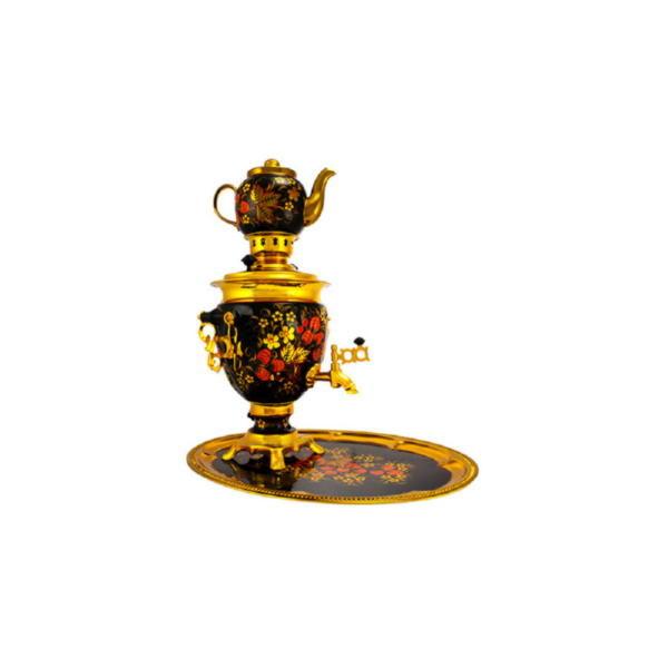 Подарочный набор «Хохлома»: самовар, заварочный чайник, поднос
